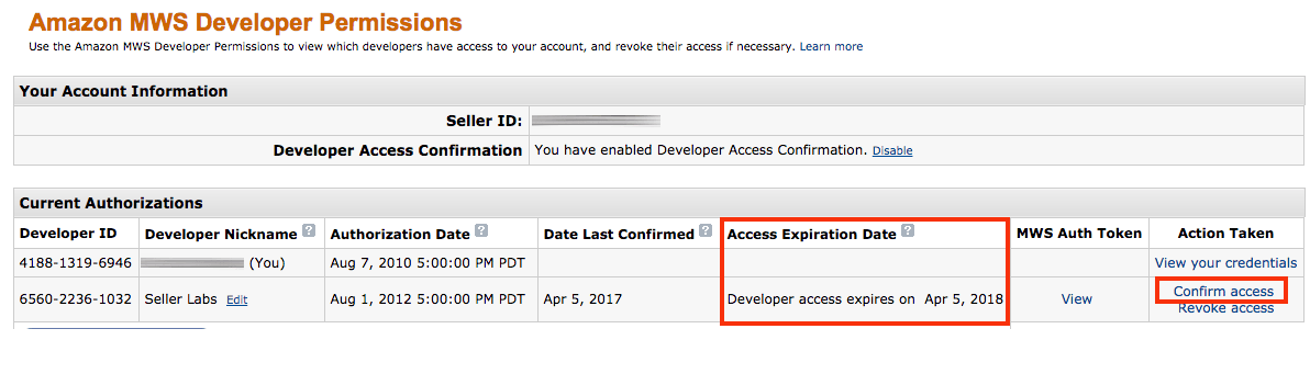 MWS Developer Access Confirmation Enabled