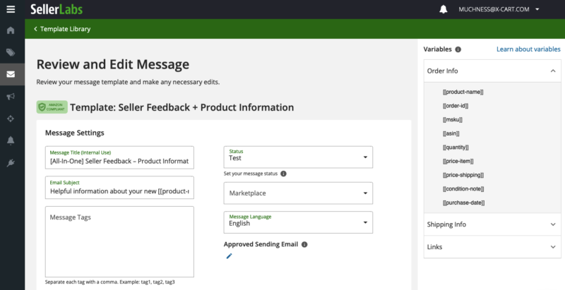 Editing email template in Seller Labs