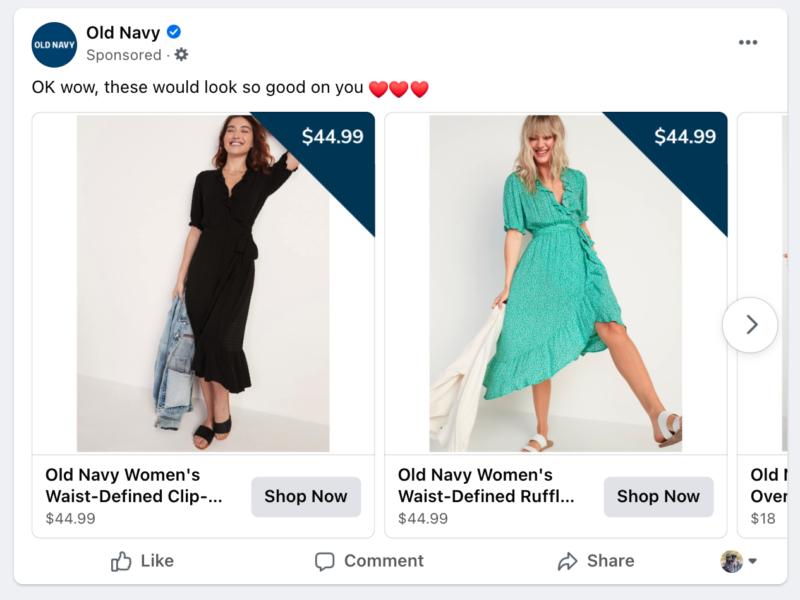 facebook advertizing carousel ads