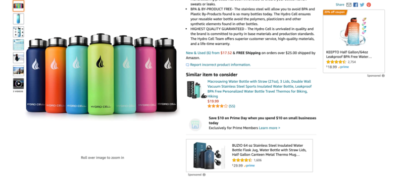 amazon detail page for water bottle result with ads