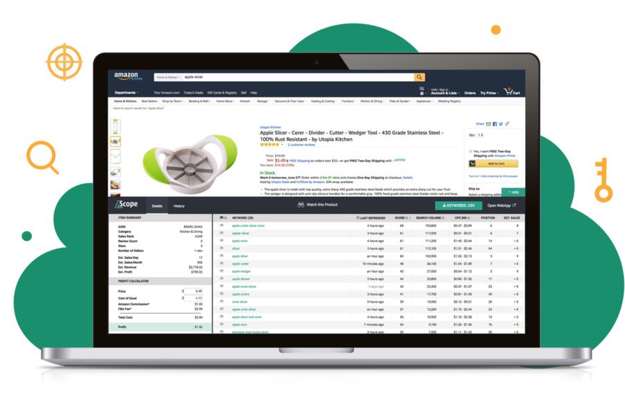Screenshot of Scope Amazon Keyword Research tool