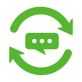 Icon of comment with feedback arrows