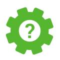 Icon of gear with question mark